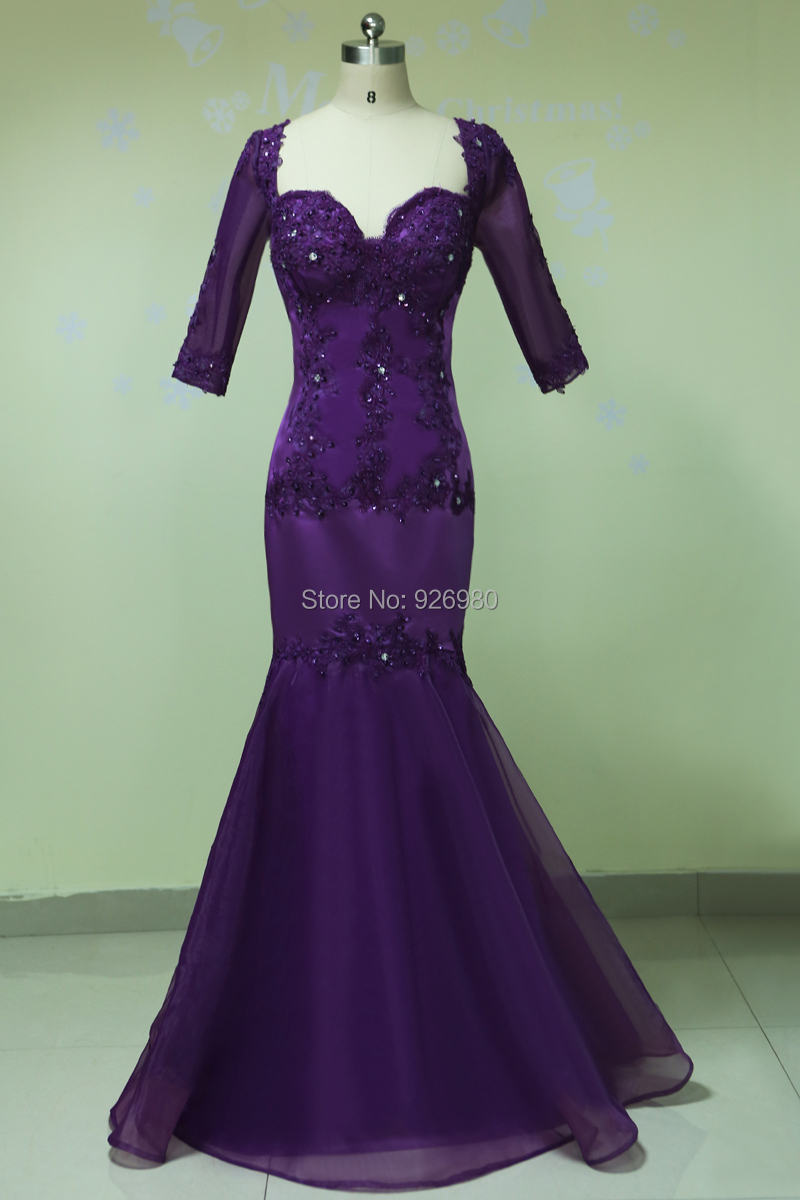 Sweetheart Purple Mother Of The Bride Dress With Half Sleeves Mermaid Mother Of The Groom Gown