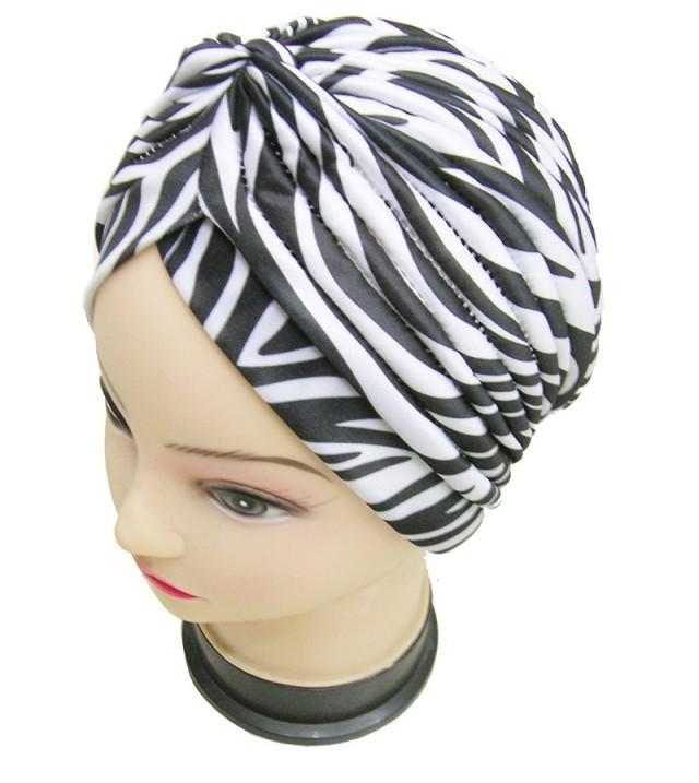 Free Shipping 2015 Zebra Skin Turban Hat Cap Hijab Hairband Bandana Wrap Hair Fancy Zebra Indian Cap For Women/Ladies(China (Mainland))