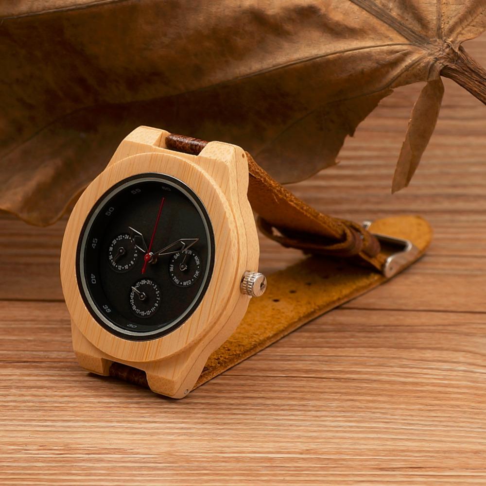 BOBO BIRD Bamboo Mens Wristwatches Wood Wooden Watch Genuine Leather Band Japan Move' 2035 Quartz Men Gifts - BOBOBIRD Store store