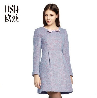 OSA 2014 Winter New Arrival Women's O-neck Bow Wool Coat Woolen Outerwear SD415028(China (Mainland))