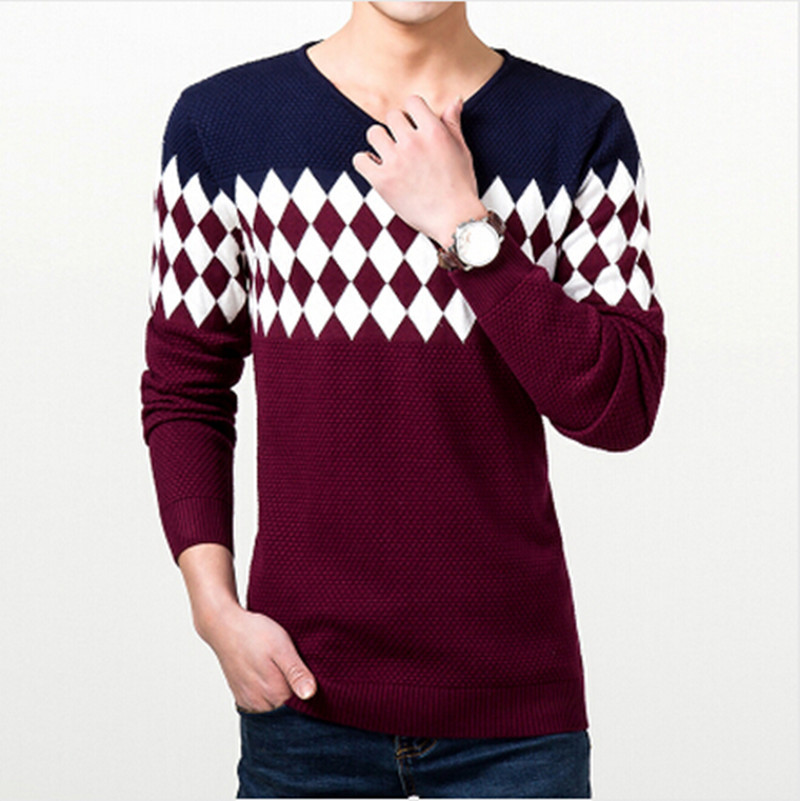 Men's Clothing 2015 new autumn round neck men cultivating business casual striped knit sweater dress long-sleeved high(China (Mainland))
