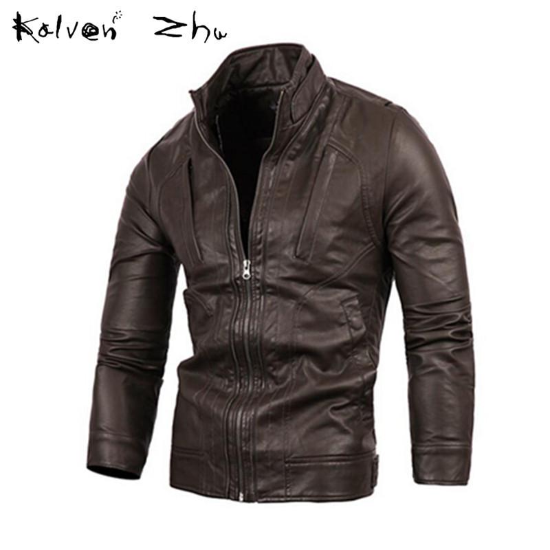 2015 Spring Autumn New Fashion Zipper Casual Jackets Men's Slim Fit Coat Pure Black PU Leather Size M-XXL MJ051 - Karen Mok store