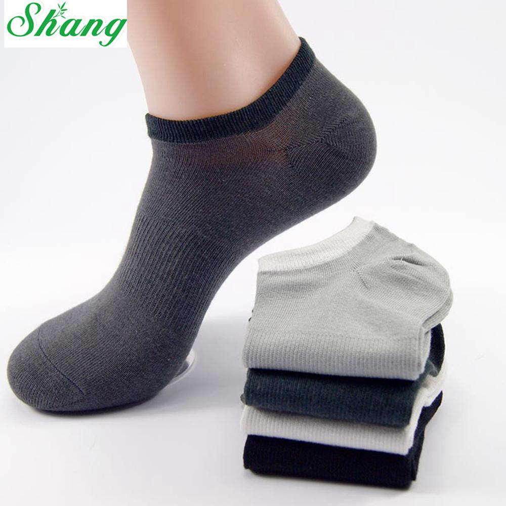 Shang brand men socks men's Bamboo Fiber Sock Slippers Breathable socks pure color Male sport socks Size39-44 5pairs/lot LQ-12(China (Mainland))