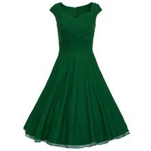 2015 Hepburn style vintage square collar dots print big swing ball gown dress