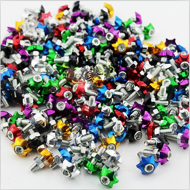 For Electric pedal refires 125 motorcycle license plate decoration frame license plate 6 multicolour aluminum alloy screw,100PCS(China (Mainland))