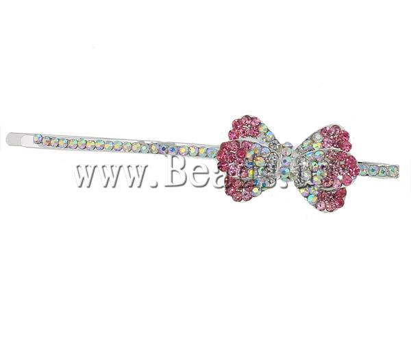 Free shipping!!!Hair Slide,korean, Zinc Alloy, Bowknot, silver color plated, with rhinestone, nickel, lead & cadmium free