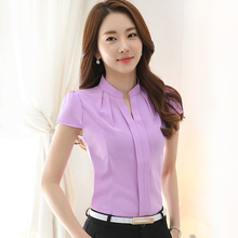 Chiffon blouses New 2016 Fashion Summer Slim women chiffon shirt Elegant Solid color Short Sleeve women tops Plus size blusas(China (Mainland))