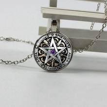 Мода Wiccan ожерелье Черная магия языческая пентаграмма кулон Круглый купол стеклянный подарок Ms. Мужское ожерелье(China)