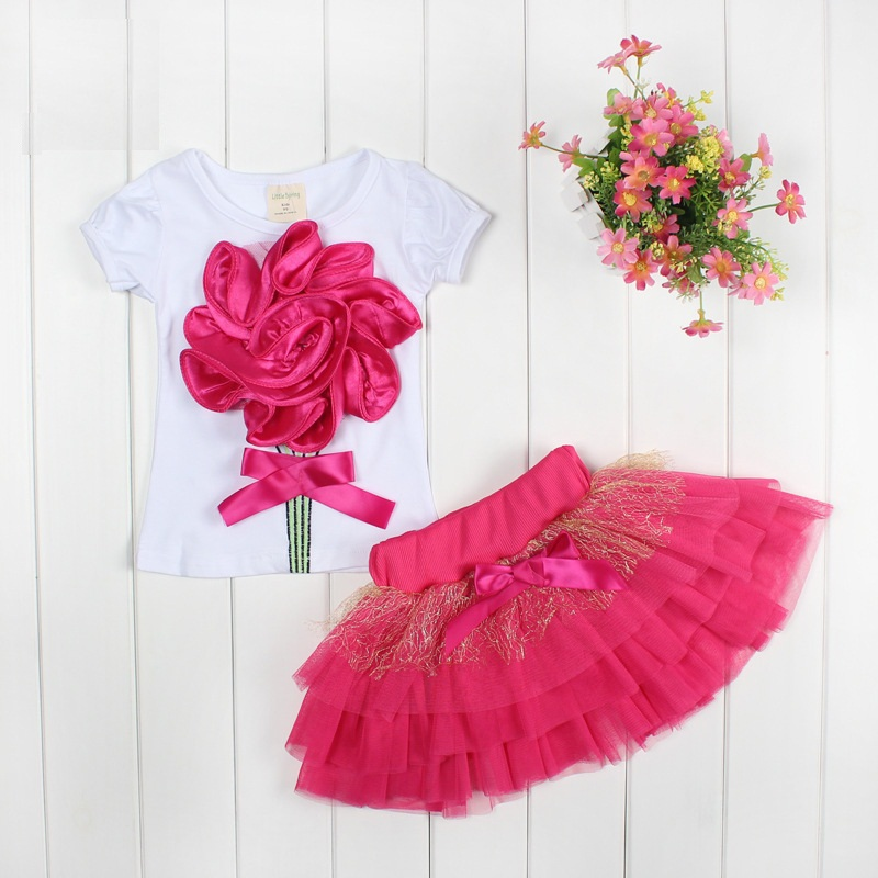 Kids summer 2014 short-sleeved T-shirt yarn big flower skirt suit female baby girls dress children veil<br><br>Aliexpress