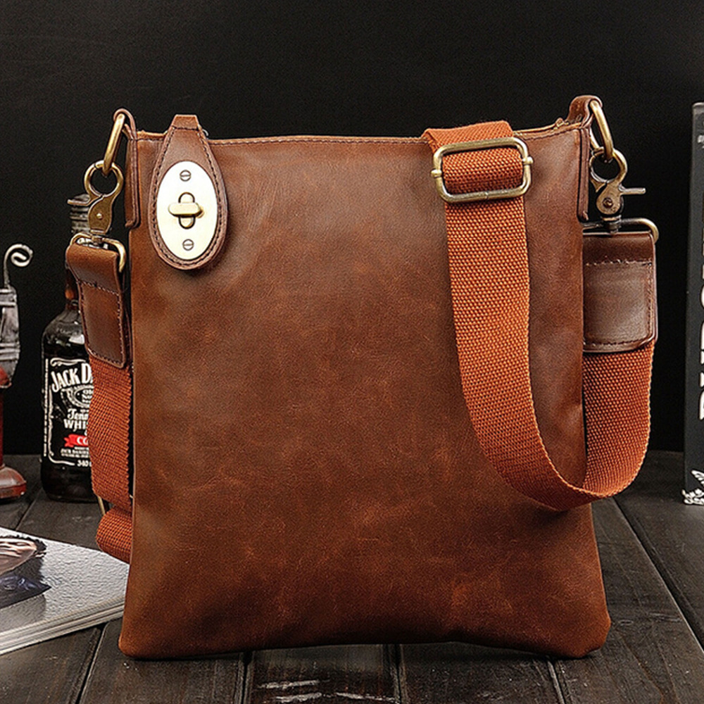 2015 New Simple Vintage Men Messenger Bags Imitation Crazy Horse Leather Shoulder Bags Business Travel Handbags Sacoche Homme(China (Mainland))