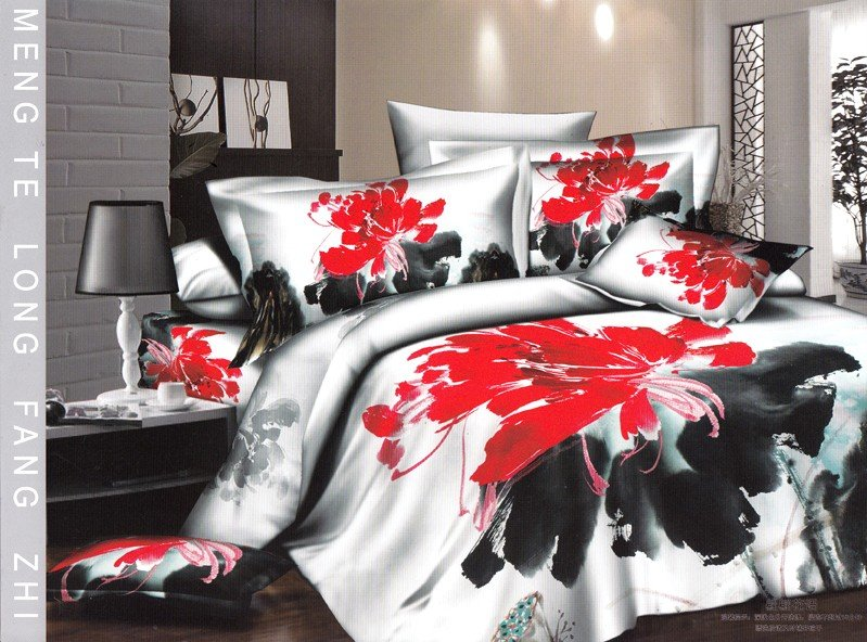 Hot Fashion New  Beautiful 100% Cotton 4pc Doona Duvet QUILT Cover Set bedding set Queen/  King size white black Red flower