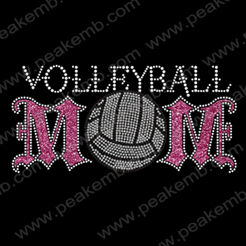 Free Shipping Fast Turnround 30pcs/Lot Volleyball MOM Iron On Glitter Motif Rhinestone Design Wholesale