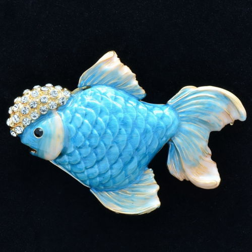 Rhinestone Crystals Blue Gold Fish Goldfish Brooch Broach Pin Accessories Sba4524 3 In Brooches