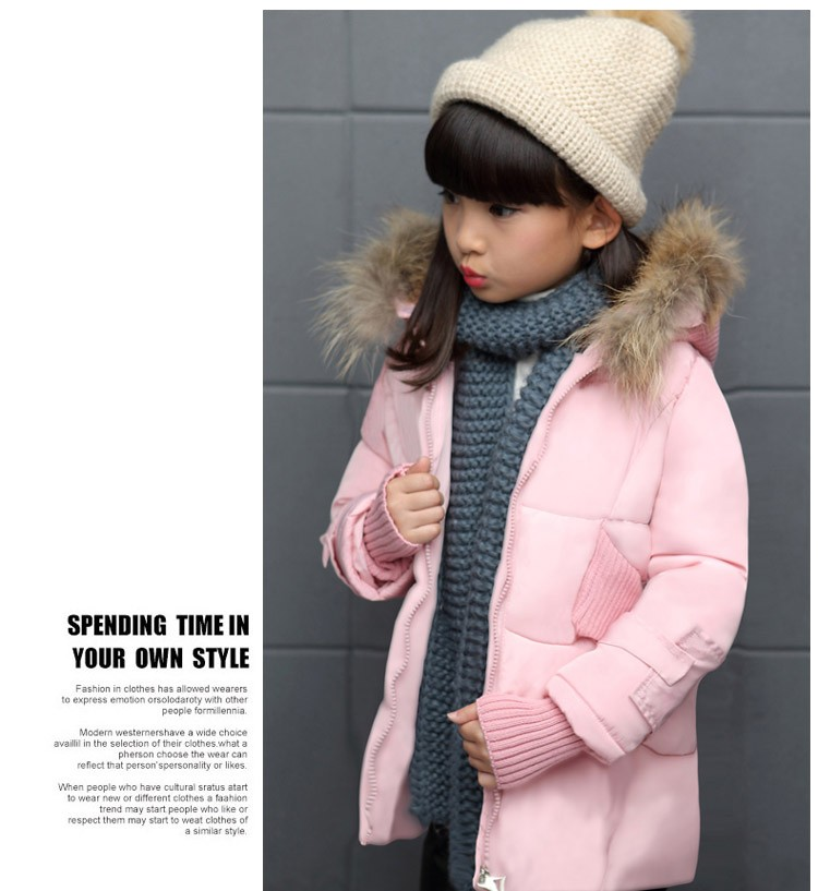 Скидки на Детская одежда девушка зимняя куртка хлопок проложенный дети верхняя одежда пальто с капюшоном теплая вниз куртки девушки вниз и парки