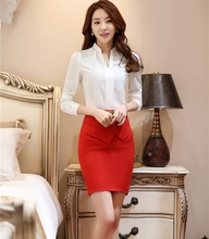 New Fashion Work Skirt Suits With Tops And Skirt Ladies Office Uniform Styles Spring Autumn Business Office Shirts Blusa Sets