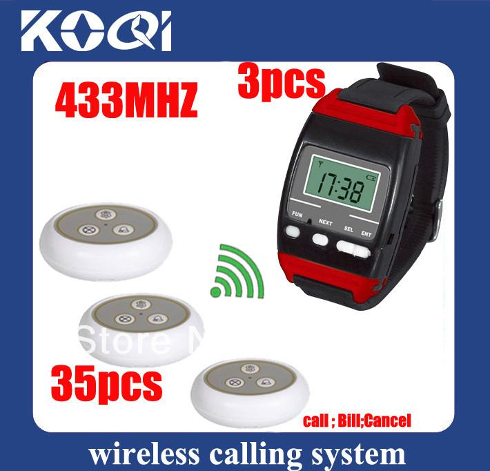 433.92mhz Number calling system w 3 Watch pagers +35 table call buttons with sing call . Freeshipping by EMS/DHL(China (Mainland))