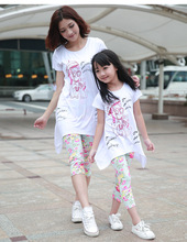 2016 Brand New Arrival Summer Family Cartoon Cat Clothing Set Mom And Daughter Short Sleeve T-Shirt + Pants Clothing Set