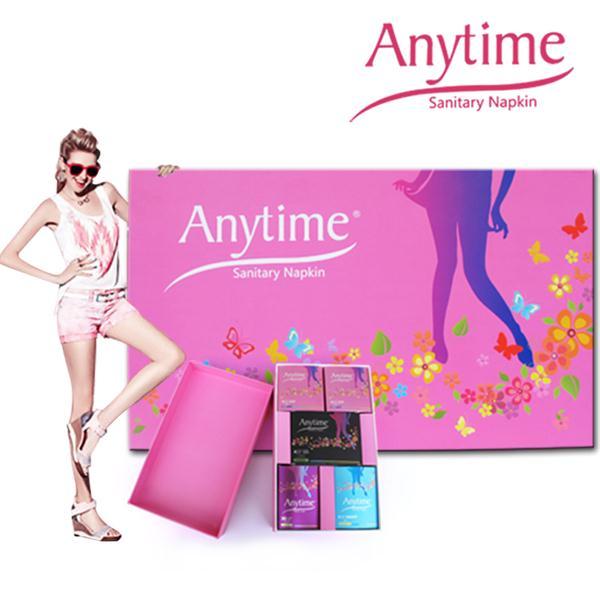 Anytime International Brand Gift Box Women Feminine Hygiene Anion Cotton Bamboo Medicated Menstrual Lady Sanitary Pad(China (Mainland))