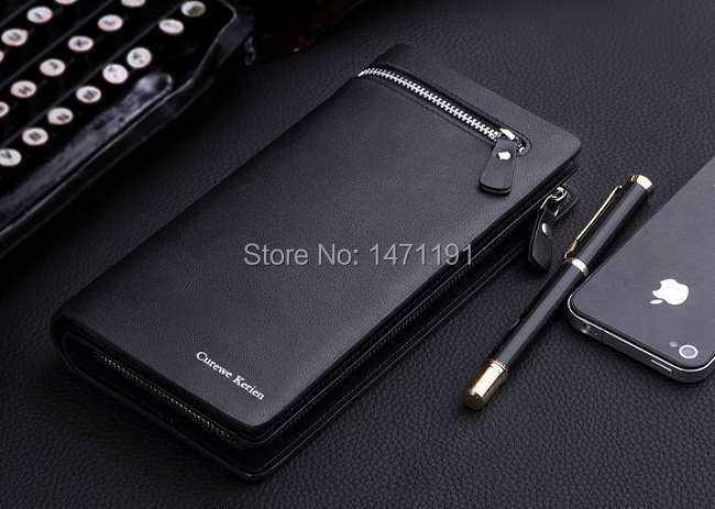Free Shipping 2015 fashion new business wallets men's long zipper purse multicard brand European and American clutch handbag(China (Mainland))