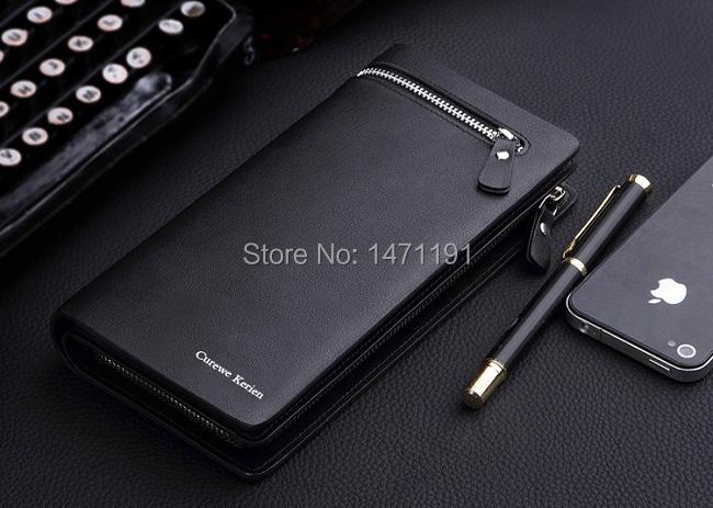 Free Shipping 2015 fashion new business wallets men's long zipper purse multicard brand European and American clutch handbag(China (Mainland))