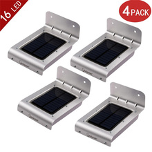 New 4-Pack lederTEK 2nd Generation 16 LEDs Outdoor Wireless Solar Powered PIR Motion Sensor Light/ Wall lights/ Security lights(China (Mainland))