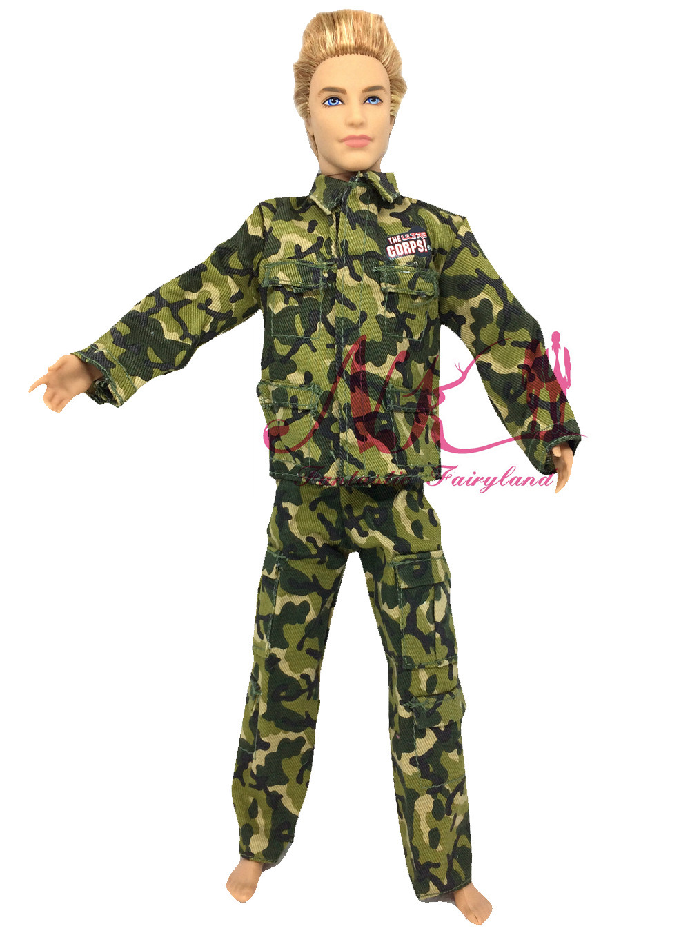 NK Original Doll Prince Clothes Army Combat Uniform Outfit For Barbie Boy Male  Ken Doll For Lanard  1/6 Soldier  Best Gift 001A