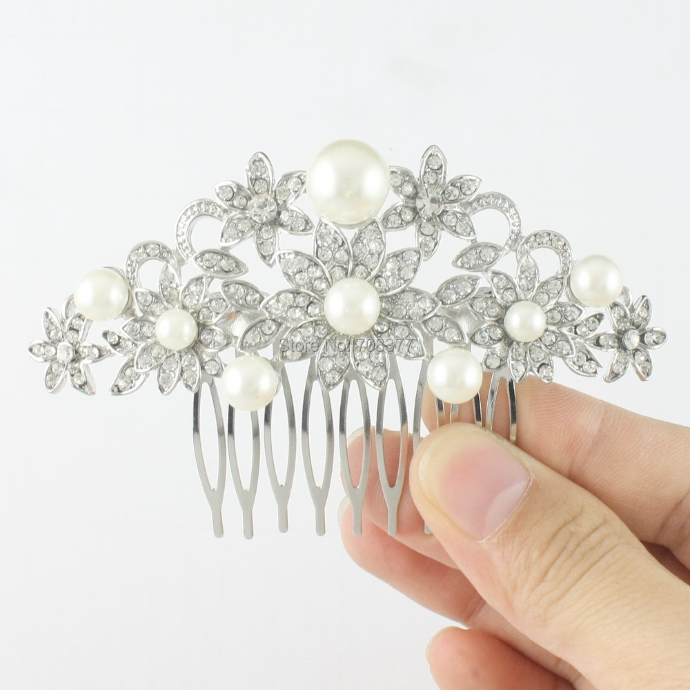 Mrs. X Sale Austrian Crystal Flower Hair Comb Wedding Jewelry Clear Headpiece Bridal Faux Pearl Hair Accessories For Gift FS0055(China (Mainland))