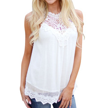 2016 Summer Women Blouse Lace Vintage Sleeveless White Crochet Casual Shirts Tops Plus Size Blusas Femininas