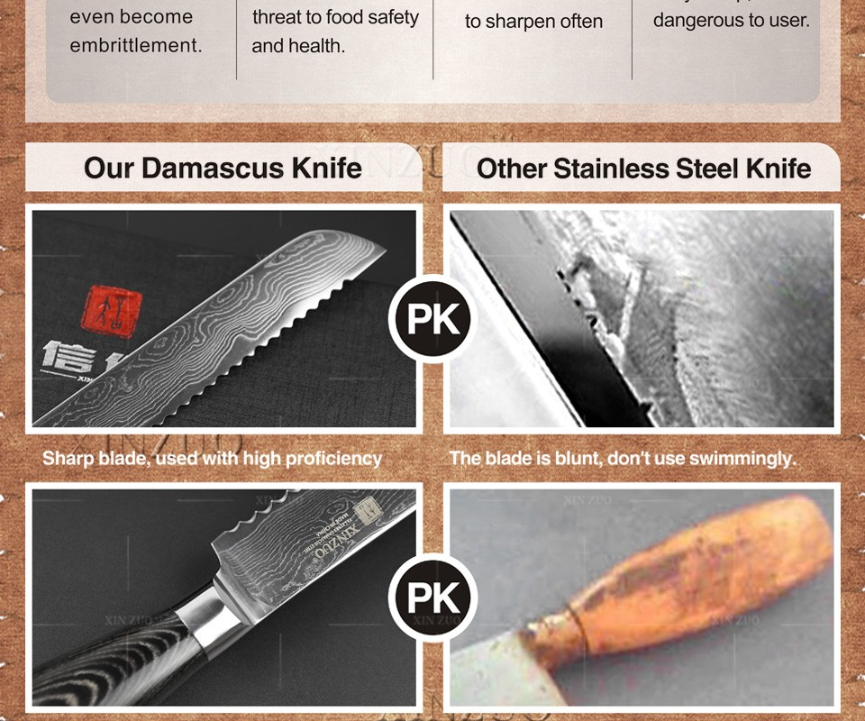 "Buy XINZUO 8"" inches bread knife  Damascus kitchen chef knives sharp hard Japanese VG10 cake knife forged wood handle free shipping cheap"
