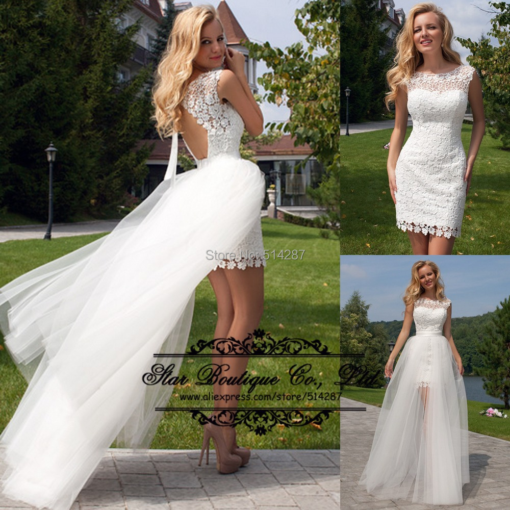 Vestido de noiva 2015 sheath short backless white lace for Short sheath wedding dress