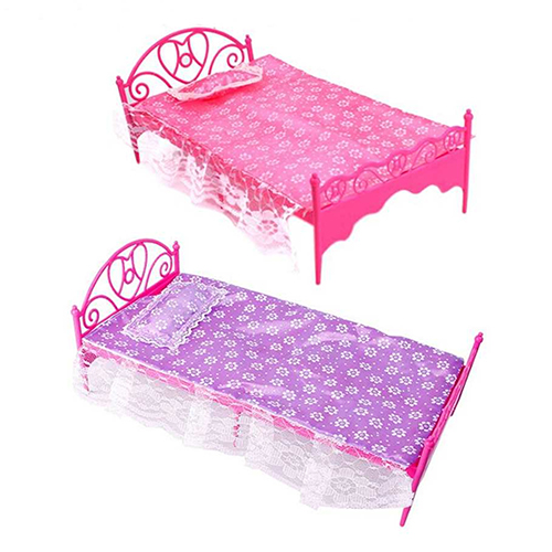 Bluelans Plastic Miniatures Bedroom Furniture Single Bed for Barbie Dolls Dollhouse(China (Mainland))