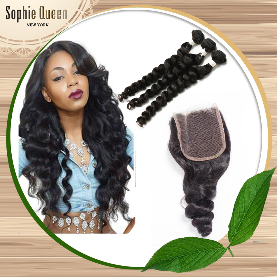 Rosa Hair Products With Closure 3 Pc Brazilian Loose Wave Virgin Hair With Closure Grade 7a Unprocessed Virgin Hair With Closure
