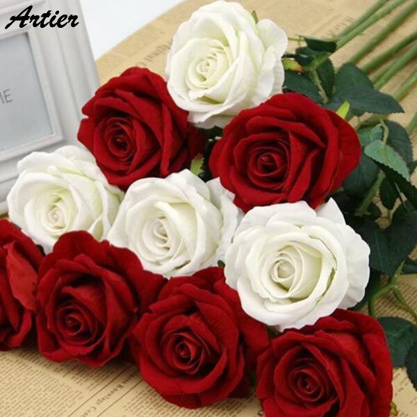 artificial rose long 52cm 4color diameter 10cm big rose for wedding decoration flowers silk flower home decor AN0782(China (Mainland))