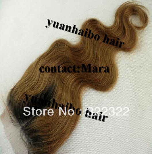 two tone color 1b/27# ombre virgin human hair top closure free shipping<br><br>Aliexpress