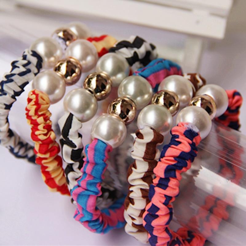 Aliexpress.com Comprar Artesanía tejida perlas anillo elástico del pelo Venda Del Pelo de goma para Las Mujeres Accesorios Para el cabello Adornos Para El