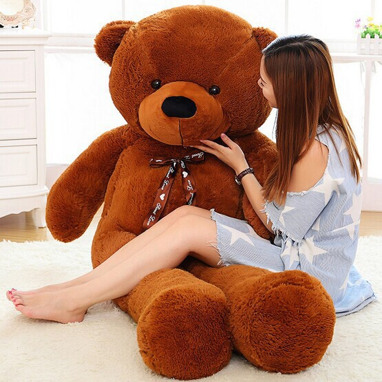 2015 New arrival 180CM giant brown teddy bear plush doll stuffed animals kid baby dolls life size teddy bear Free Shipping(China (Mainland))
