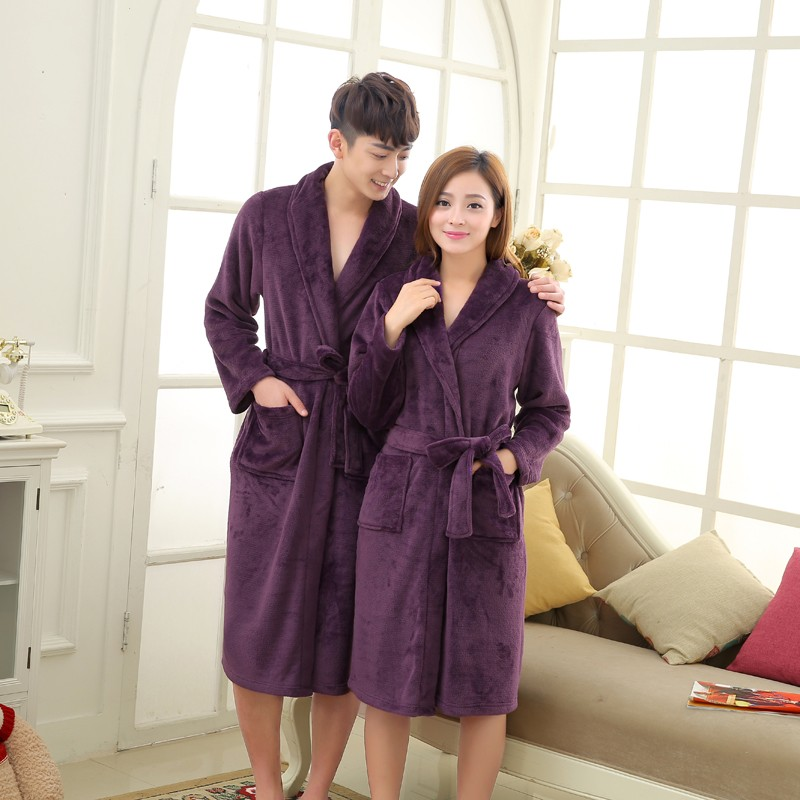 Unisex Mens Women\`s Long Polyester Sleep Lounge Robes RBS-C LYQ114 14