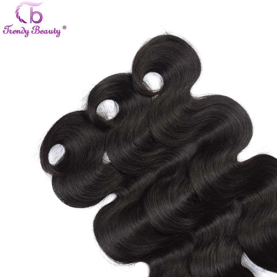 """Trendy Beauty Brazilian Body Wave Hair Weave Bundles 100% Human Hair Extensions 1B Color 8""""-26"""" One Piece Only Non-remy Hair"""
