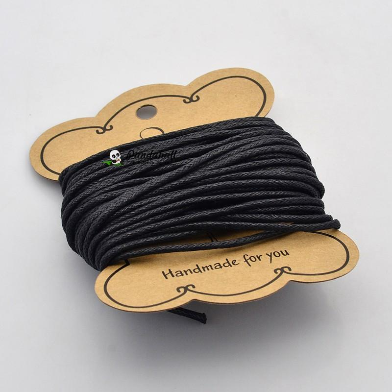 10m/roll 2mm Black Cotton Wax Cord Polyester String Beading Cord for DIY Bracelet Jewelry Making wire craft Ropes accessories(China (Mainland))
