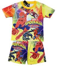 2015 super hero pyjamas superman spider man Various cartoon print children s pajamas kids pajama sets