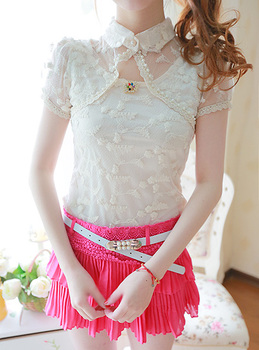 2013 women's beige pearl poncho embroidered slim lace shirt brooch
