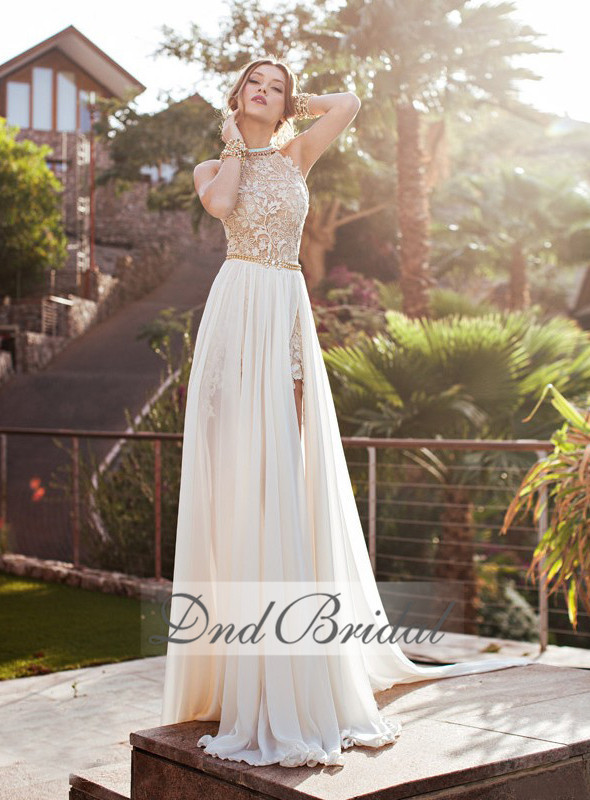 2015 best selling elegant halter backless split aside for Aline halter wedding dresses