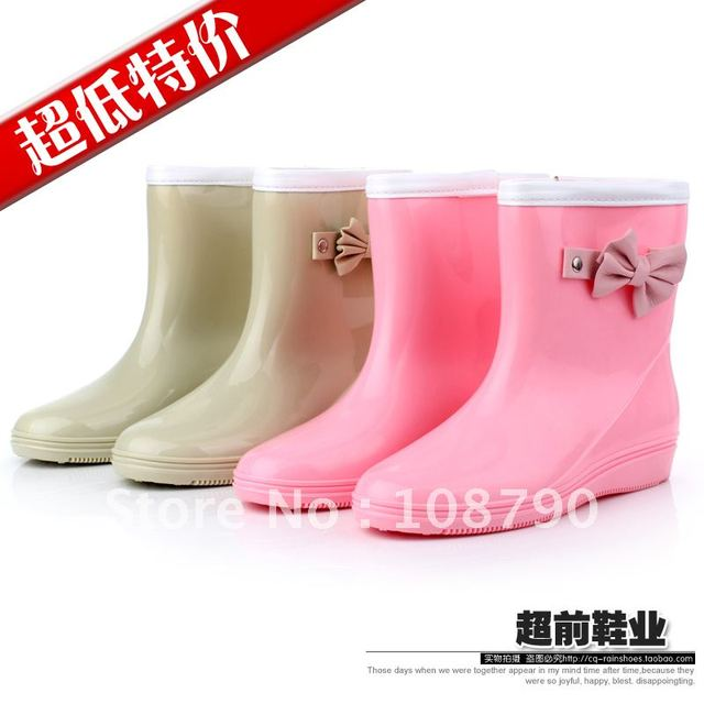 shoes Bow pvc plastic rain boots rainboots fashion women's rain ...