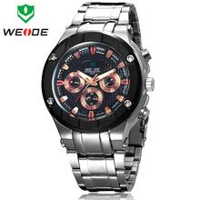 Nuevo WEIDE militar deportes relojes acero lleno originales de marcas de lujo 6 manos de múltiples funciones fecha / día 30 M Waterproofed reloj