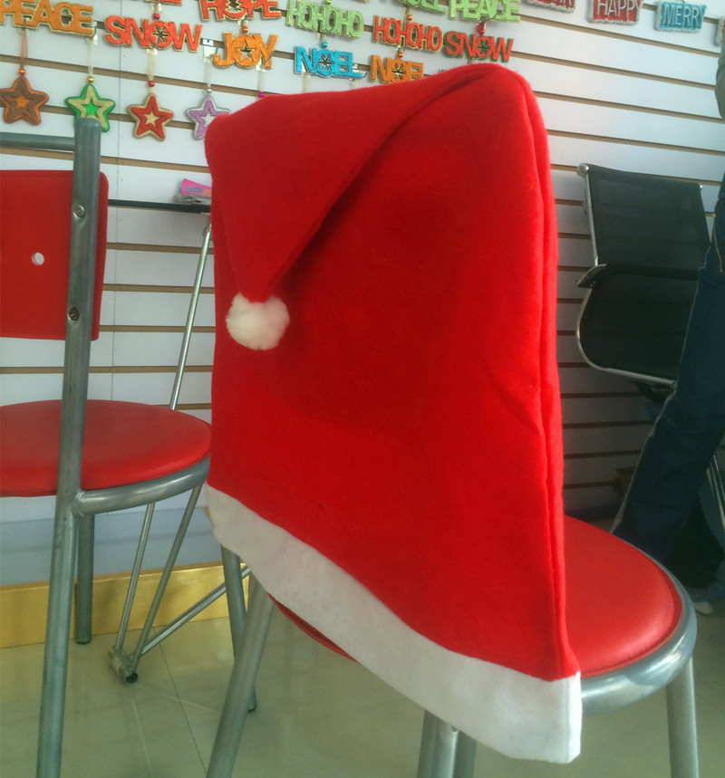 Red Hat Chair Back Cover Christmas Dinner Festival Decoration home chair decoration 7z-cx256-3(China (Mainland))