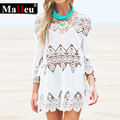 2017 Summer Women Beach Mini slip White lace Dress Half Sleeve O Neck Lace Floral Crochet