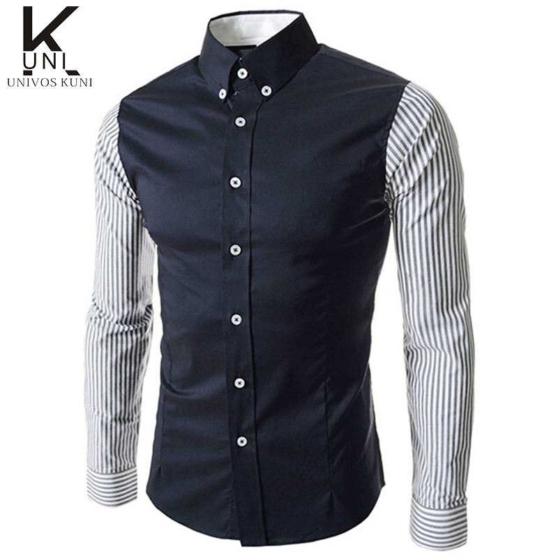 Men shirts 2016 new fashion brand stripe patchwork dress for Mens fitted long sleeve dress shirts