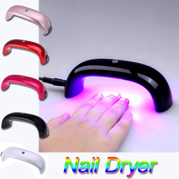 Fashion Portable 9W 100-240V LED Light Bridge shaped Mini Curing Nail Dryer Nail Art Lamp Care Machine for UV Gel EU Plug(China (Mainland))