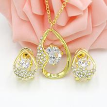 Schmuck Women Jewelry Set 18K Gold Plated With Austrian Crystal Pendant/Earrings Set fine wedding jewelry parure bijoux femme