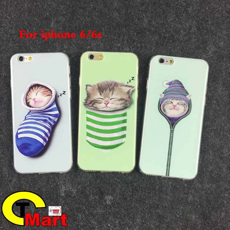 """Fundas Phone Case Cover For iPhone 6 6s 4.7"""" Ultra Soft TPU Silicon Cute cartoon animals Socks cat Mobile Phone Bag(China (Mainland))"""